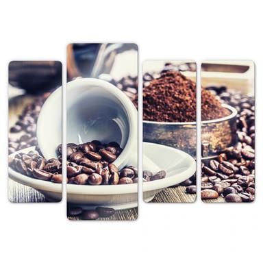 Glasbild Kaffeeträume (4-teilig)