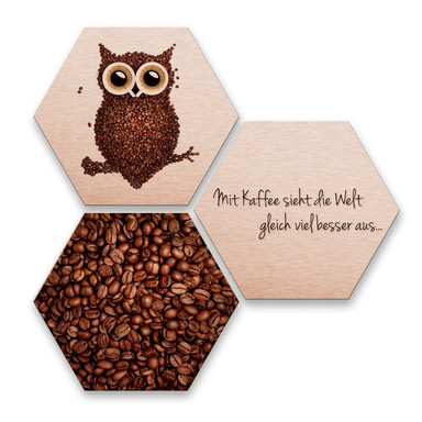 Hexagon - Alu-Dibond-Kupfereffekt - Kaffeeeule (3er Set)