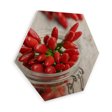Hexagon - Holz Birke-Furnier - Hot Chili