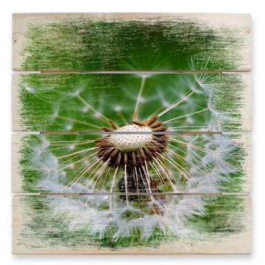 Holzbild Pusteblume im Wind