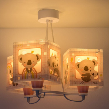 Kinderzimmer Pendelleuchte Koala in Pink 3-flammig E27
