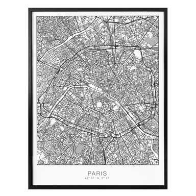 Poster Stadtplan Paris