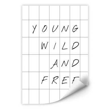 Wallprint mit Raster - Young wild and free