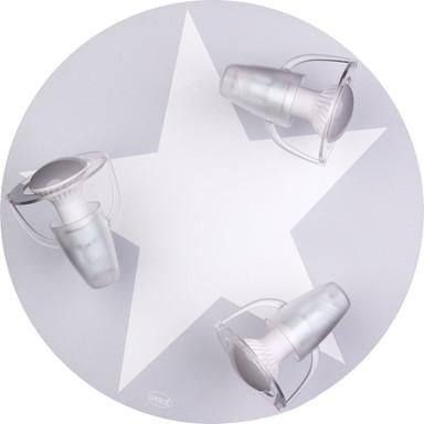 Dreiflammige Kinderzimmer-Deckenleuchte mit Stern, grau, E14