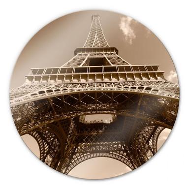Glasbild Eiffelturm Perspektive - rund