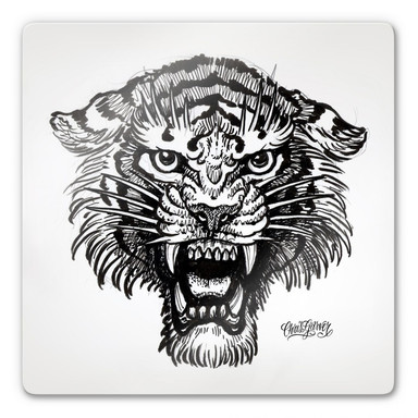 Glasbild Miami Ink Tiger s/w