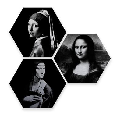 Hexagon - Alu-Dibond-Silbereffekt - Berühmte Frauen der Kunstgeschichte (3er Set)