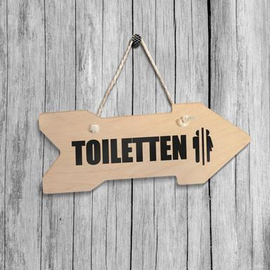 Holz-Wegweiser - Toiletten inkl. Sisalseil