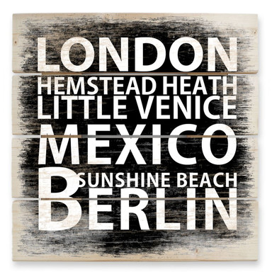 Holzbild London - Mexico - Berlin