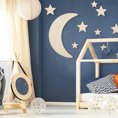 Holzdeko Pappel - Mond und Sterne