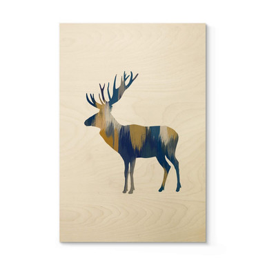 Holzposter Orara Studio - Moose Blue and Yellow