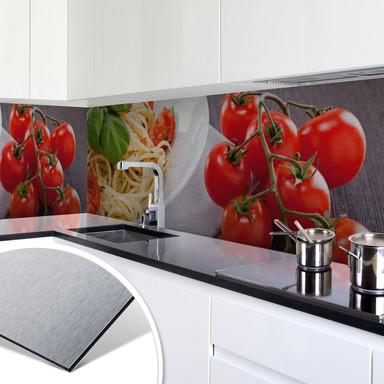 Küchenrückwand - Alu-Dibond-Silber - Pasta Italiano