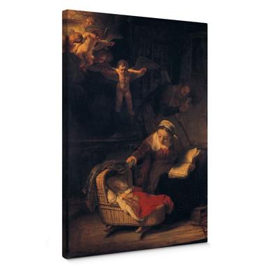 Leinwandbild Rembrandt - Heilige Familie mit Engeln