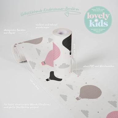Lovely Kids selbstklebende Kinderzimmer Bordüre Cloud Balloons mit Heissluftballoons