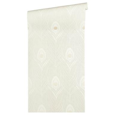 Architects Paper Vliestapete Absolutely Chic Tapete mit Pfauen Feder metallic, grau, beige