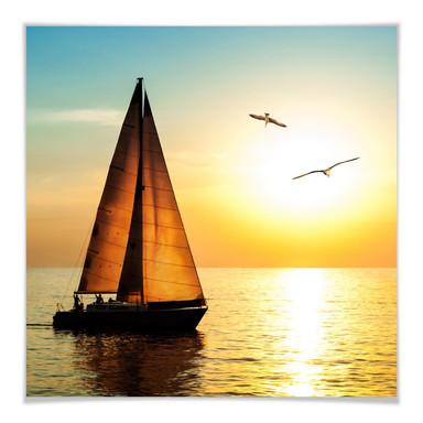 Poster Segelboot im Sonnenuntergang