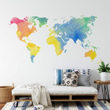 Wandtattoo Aquarell Weltkarte