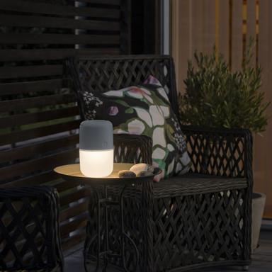 Witterungsbeständiges Terrassen- und Balkonlicht Assis, IP44. grau , rund