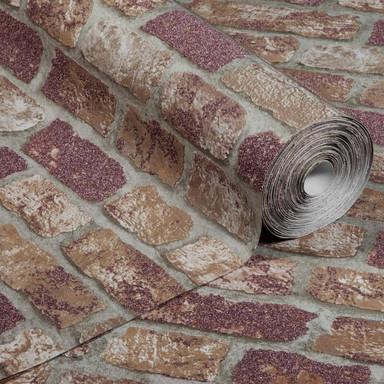 Anaglypta® Brick Abbey Road Vliestapete in Vintage Backstein Optik rot, beige
