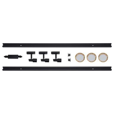 famlights | 1-Phasen Schienensystem-Set in Schwarz und Gold 2 Meter inkl. 3 Spots inkl. Leuchtmittel