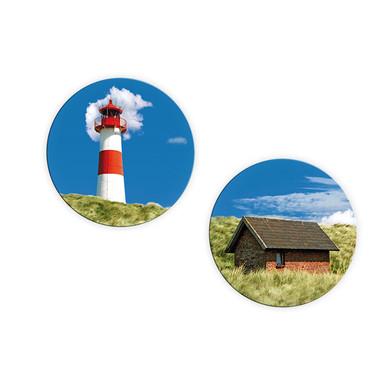 Glasbild Lighthouse in Dune (2-teilig) - rund