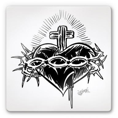 Glasbild Miami Ink Schwert mit Herz