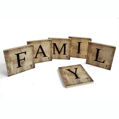 Holzbuchstaben Buchstabensteine Family - Vintage