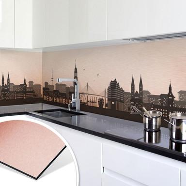 Küchenrückwand - Alu-Dibond Kupfereffekt - Mein Hamburg