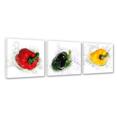 Leinwandbild Splashing Paprika (3-teilig)