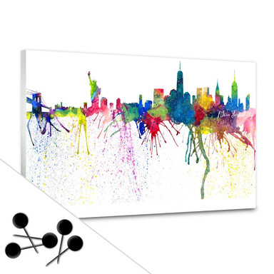 Pinnwand Bleichner - New York City Aquarell Skyline inkl. 5 Pinnadeln