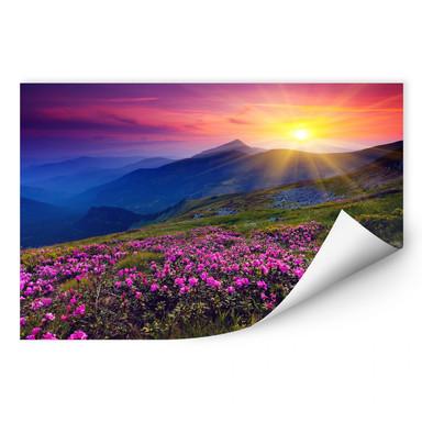 Wallprint Sonnenuntergang in den Bergen