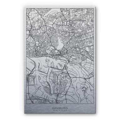 Alu-Dibond-Silbereffekt Stadtplan Hamburg
