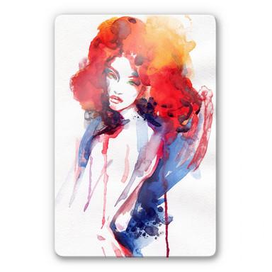 Glasbild Die Frau mit dem feuerroten Haar