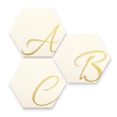 Hexagon Buchstaben - Alu-Dibond Goldeffekt - Weiss