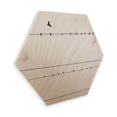 Hexagon - Holz Birke-Furnier - Stromleitung