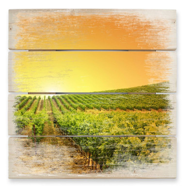 Holzbild Sonnenuntergang im Weinberg