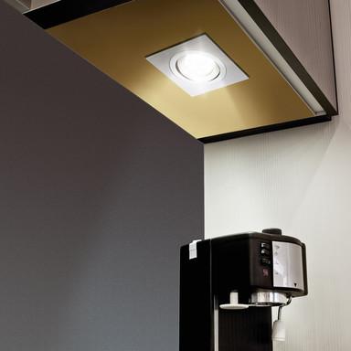 LED Einbauspot, schwenkbar, eckig, 95x95mm, Aluminium-gebürstet