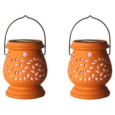 LED Solar Garten Laterne Clay, orange, mit Ausstanzungen, 2-er Set