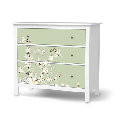 Möbelfolie IKEA Hemnes Kommode 3 Schubladen - White Blossoms