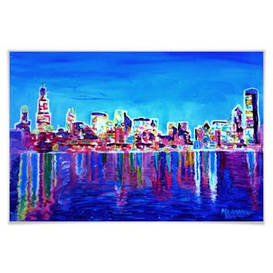 Poster Bleichner - Chicago im Neonschimmer