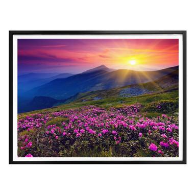 Poster Sonnenuntergang in den Bergen