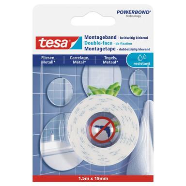 tesa® Montageband für Fliesen und Metall (10kg/m) 1.5 m x 19 mm. feuchtraumbeständig - Bild 1