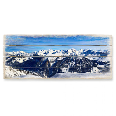 Holzbild Alpenpanorama - Panorama
