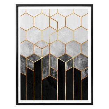 Poster Fredriksson - Hexagone: Schwarz und Grau