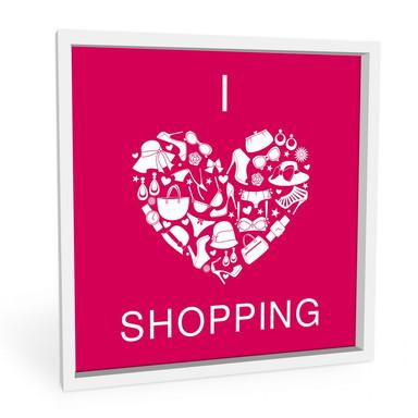 Wandbild I love Shopping - quadratisch