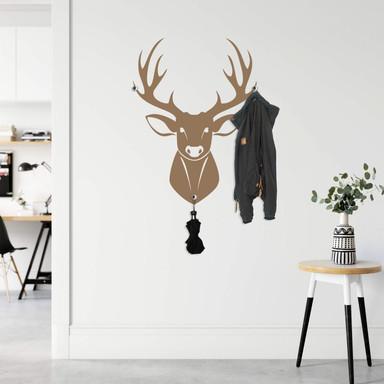 Wandtattoo Deer + Haken (inklusive 3 Wandhaken Bullet)