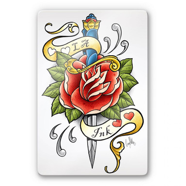 Glasbild LA Ink Dolch mit Rose