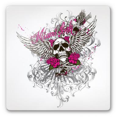 Glasbild Miami Ink Schädel mit Rosen