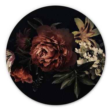Holzbild Blumenbouquet Rot - Rund