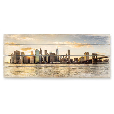 Holzbild Sundown in Manhattan - Bild 1